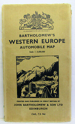 Bartholomew's Western Europe Automobile Map 1952
