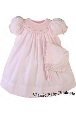 NWT Petit Ami White Multi Smocked Daygown 2PC Preemie Baby Girls Bishop Dress