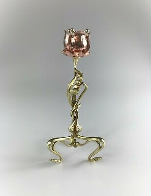 Beautiful Antique Art Nouveau Brass and Copper Tulip Candlestick