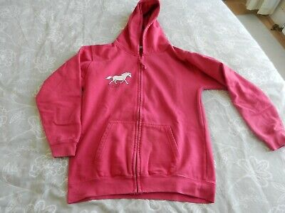 Pink Girls Hooded Top size 12/13 yr (with horses at the back off top )