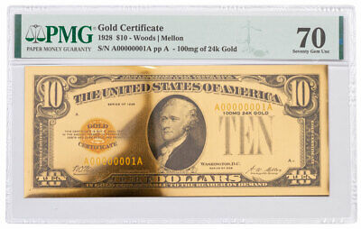 1928 $10 24KT Gold Certificate Commemorative PMG 70 Gem Unc