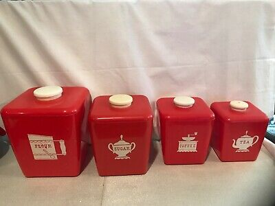 Vintage Burroughs Canister Set of 4 Red Plastic Canisters 1950's Mid Century