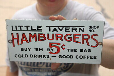 Little Tavern Hamburgers 5c Coffee Soda Pop Beer Gas Oil Porcelain Metal Sign