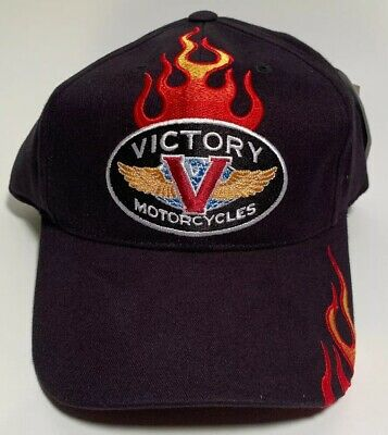 Victory Motorcycle Flame Basic Black Hat - Brand New