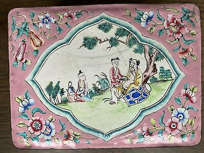 Antique Chinese Canton Enamel Box with Famille Rose Decoration of Scholar Qing