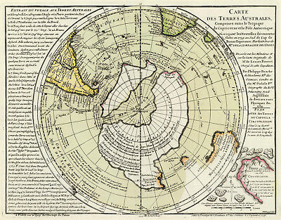 1754 Flat Earth Map Hemispheric Terres Australes Globe Wall Art Print Poster