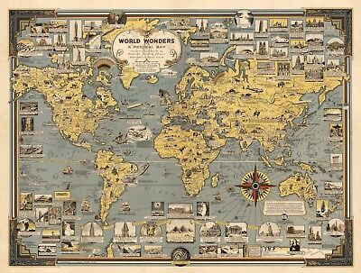 Pictorial Map World Wonders History Home Schooling Wall Art Poster Print Decor