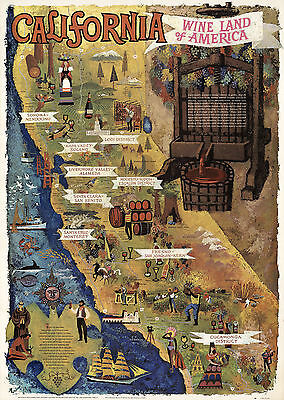 California, Wine Land of America Map Advertising Travel Poster Wall Print Decor
