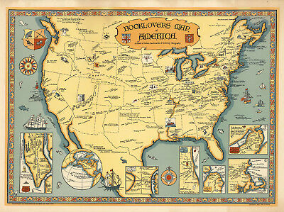 1926 Book-lovers Map America Literature Pictorial Art Poster Wall Decor History