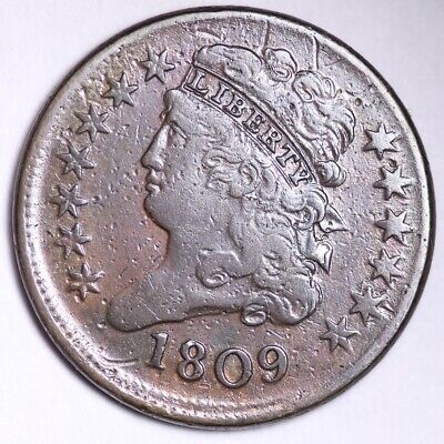 1809 ROTATED REVERSE Classic Head Half Cent CHOICE XF FREE SHIPPING E103 WEF