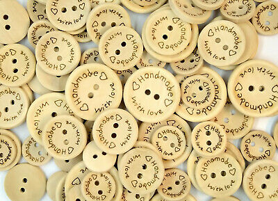 Handmade With Love Wooden Buttons Sewing Scrapbooking Cards Crafts 15/20/25mm