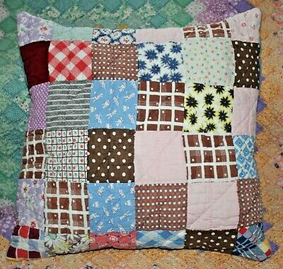 Throw Pillow Made With Vintage Postage Stamp Patchwork Quilt With Insert