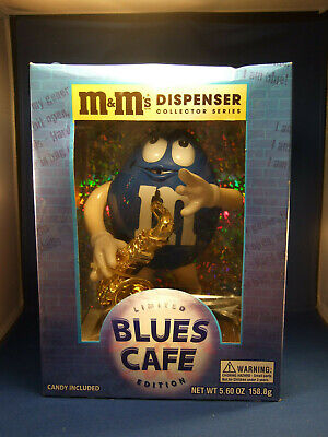 M&M's Candy Dispenser Vintage Ltd Edition Blues Cafe Sax Collector Series NIB