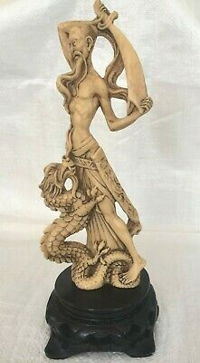 """Vintage - Intricately Carved Oriental figure on base - 11.4"""" tall - 475 grams"""