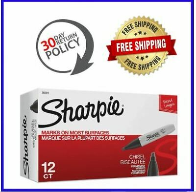 Sharpie Permanent Markers Chisel Tip Black 12 Count Free Shippinng Hot New