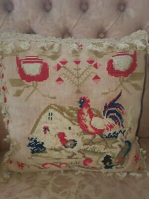 Beautiful  early Victorian sampler cushion / pillow