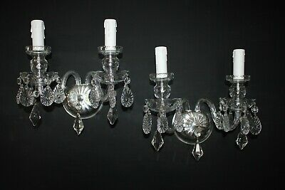 Pair Of French Vintage Cut Glass Crystal Double Wall Lights