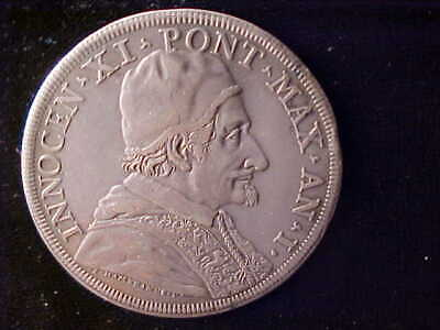 Papal States Innocent Xi 1676-1689 Scudo Year 1 Dav-4086 Very Fine