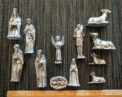 Mexican Pewter Nativity Creche set with 12 figurines including animals!