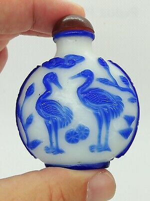 Antique Chinese snuff perfume bottle peking milk glass blue overlay Republic