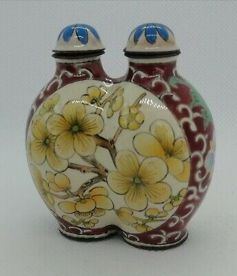 Antique Chinese 19th Century QING double snuff Bottle Signed Ch ien Lung Enamel