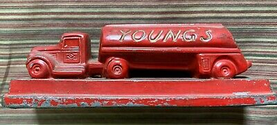 Rare 1940's Young's Trucking Company Red Cast Iron 6 In. Paperweight Oil Truck