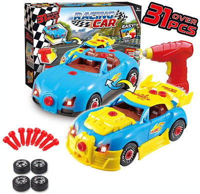Enllonish Toys for 3-4 year old Boys Gifts Take Apart Toy Car Racing-3D Sound