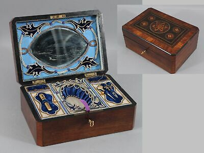 19thC Antique Marquetry Inlaid Sewing Box, Scissors, Awl Needle Case Photographs