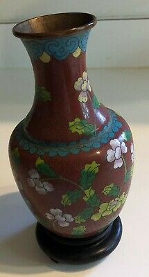 "Cloisonne Bulb Shaped Vase Floral Motif 7 3/4"" tall  w Wood Base"
