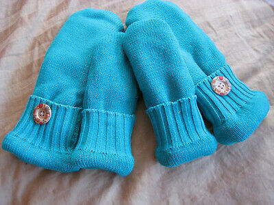 ~HOT SUMMER SALE~**sweater Mittens Recycled Handmade Teal  2 pairs mom & child**