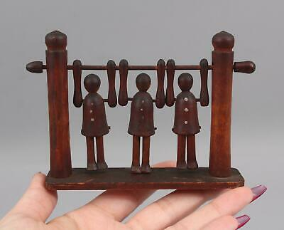 Small Antique Carved & Painted, Folk Art, Triple Acrobat, Flipping Wood Toy, NR