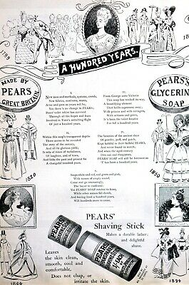 Pears SHAVING Soap Stick Advertising 1894 100 YEAR ANNIVERSARY Puck Matted Ad