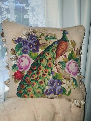 Beautiful antique Victorian plushwork and beadwork and needlework cushion/pillow