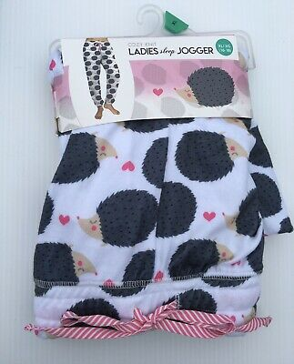Women's XL HEDGEHOG Sleep Pants Joggers 16 18 Lounge Pajama Bottoms PINK Hearts