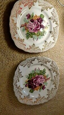 Ashley Fine Bone China 5 X Small Side Plates 22K Gold Made In England Rare