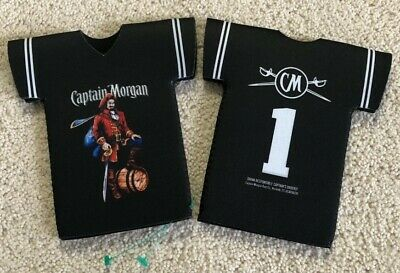 CAPTAIN MORGAN Rum Barrel Football Jersey Bottle Insulated Koozies Lot of 2 NEW