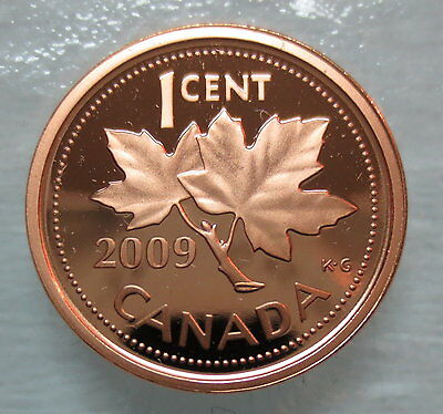 2009 Canada 1 Cent Proof Penny Heavy Cameo Coin