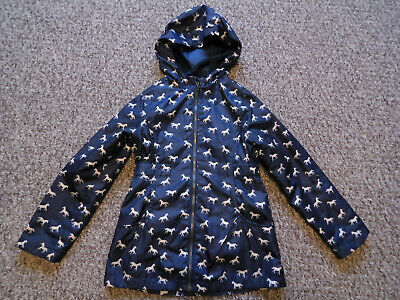 GIRLS NAVY LIGHWEIGHT JACKET zipped hooded SIZE 6-7 YEARS WORN ONCE