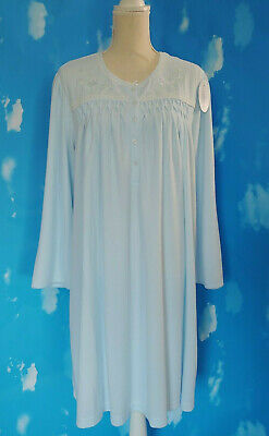 Miss Elaine Woman Cuddleknit  Soft Blue L/S Short  Nightgown  2X