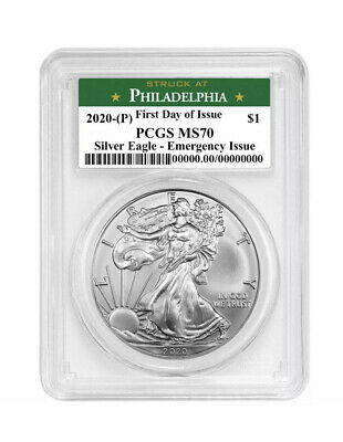 2020 (P) $1 American Silver Eagle PCGS MS70 Emergency Production FDI Green Label