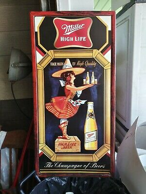 Miller High Life Metal Sign Tin Tacker Girl Moon Old Beer Crate Bottle Tray L@@K