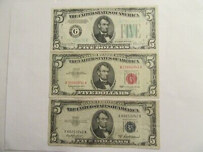 Lot of 3 $5 Notes, 1953 A silver cert., 1963 US Note-red seal, 1934 D FRN
