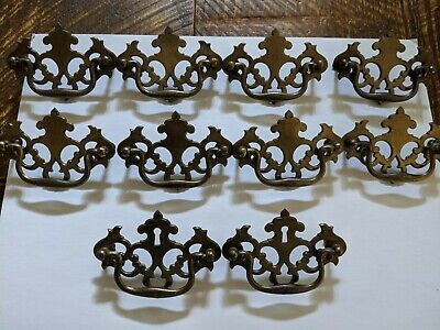 Vintage KBC Batwing Chippendale Style Drawer Pulls Lot Of 10 Brass Refinishers