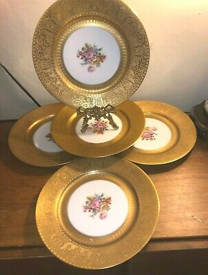 Set of 5 Thick Gold Embossed Dinner Service Plates BAUSCHER BAVARIA C.1926