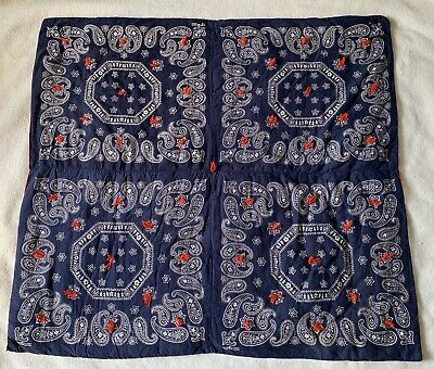 """Vtg ELEPHANT Trunk Up Fast Color Red Blue Bandana Quilt Blanket Throw 43"""" x 40"""""""