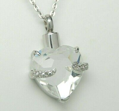 Clear CZ Heart Cremation Necklace, April Birthstone Keepsake Jewelry, Engravable