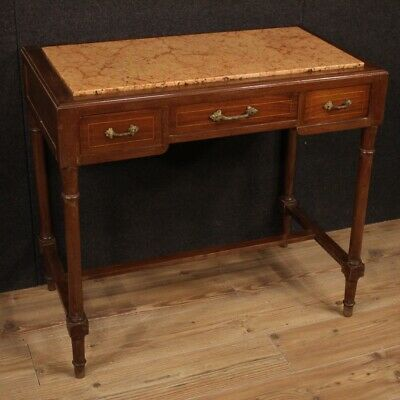 Table Secretary Desk Furniture Wooden Inlaid With Level IN Marble Antique Style
