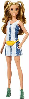 Barbie Fashionistas #108 Doll Tall with Blonde Pigtails Striped Denim Fanny Pack