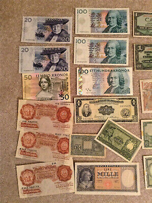 Lot of Foreign world currency mixed countries and condition mainly Sweden and UK