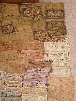Large lot of Philippines and Guerrilla emergency currency Philippine Pesos